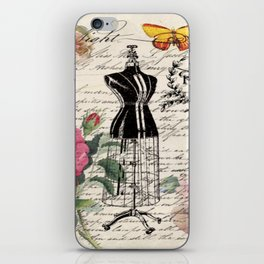 french country rose floral modern vintage dress mannequin paris fashion iPhone Skin