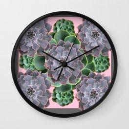 ORNATE JADE & GREEN SUCCULENT PINK   GARDEN Wall Clock
