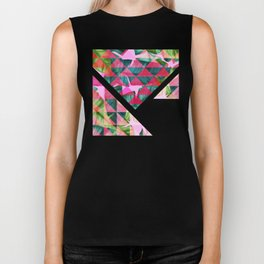 Abstract Hot Pink Banana Leaves Design Biker Tank