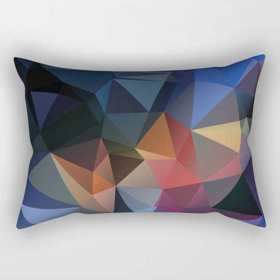 Polygon geometric abstract pattern in yellow blue and brown colors . Rectangular Pillow
