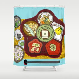 Japanese Veggie Platter Shower Curtain