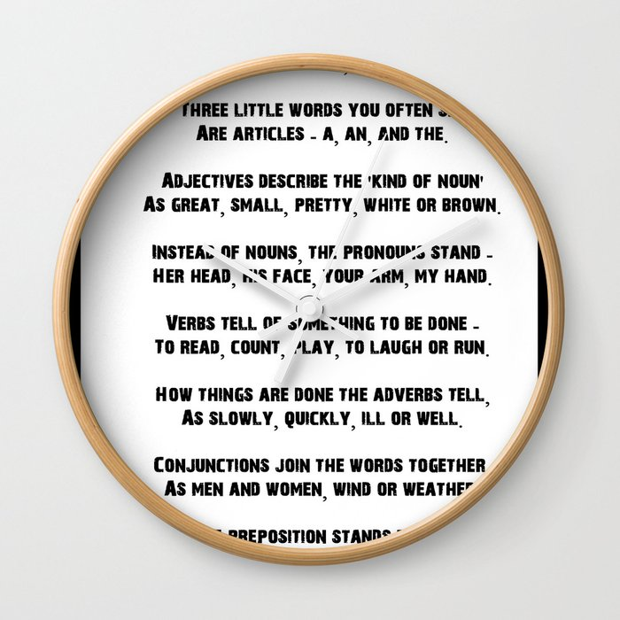Parts of Speech Rhyme Wall Clock by heresiarch