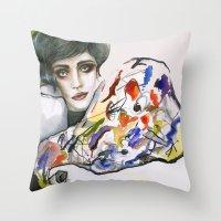 kandinsky Throw Pillows featuring Dressed in Kandinsky by Bruna Babic