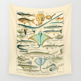 Vintage Fishing Diagram // Poissons II by Adolphe Millot 19th Century Science Textbook Artwork Wall Tapestry