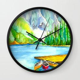 Lake Louise Watercolor Wall Clock