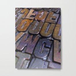 vintage letterpress type texture Metal Print