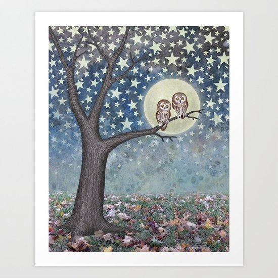 northern saw whet owls under the stars Art Print