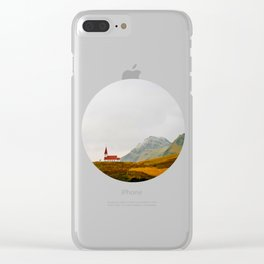 Lonely Icelandic Church Mountains Landscape Round Photo Clear iPhone Case