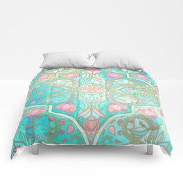 Floral Moroccan in Spring Pastels - Aqua, Pink, Mint & Peach Comforters