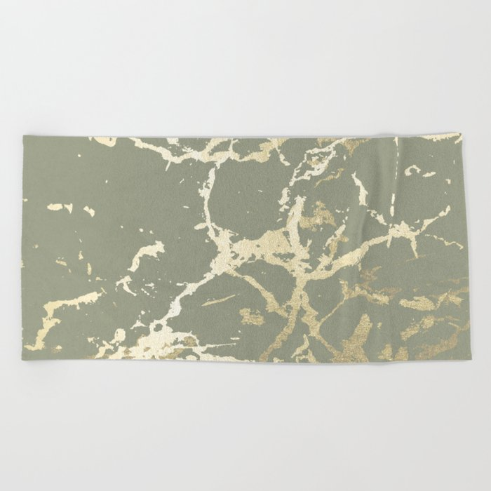 Kintsugi Ceramic Gold on Green Tea Beach Towel