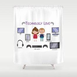 Technology Love Shower Curtain