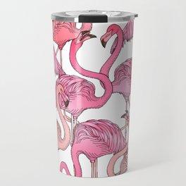 Flamingos Pattern White Travel Mug