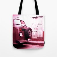 vw bus Tote Bags featuring VW Bus 17B by Julia Aufschnaiter