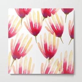 Pink Protea Flower Pattern Metal Print