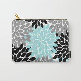 Aqua Black Gray Flower Burst Floral Pattern Carry-All Pouch
