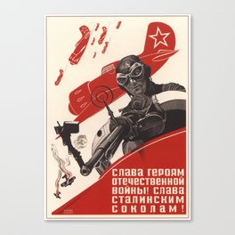 Glory to the heroes of World War II! - Vintage Russian Poster Canvas Print
