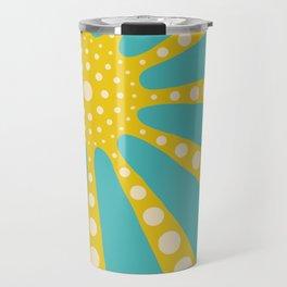 Abstract sunburst in mustard yellow, turquoise, off-white Travel Mug