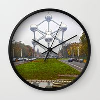 brussels Wall Clocks featuring Atomium Brussels Painted Photography by Premium