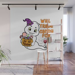 ghosty Halloween Trick or Treat Wine Ghost Present Gift Wall Mural