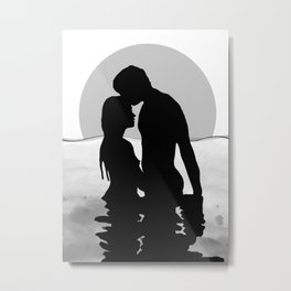Lovers Black and White Metal Print