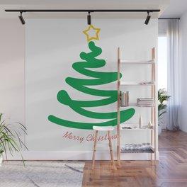 Unusual Christmas tree. Abstract Christmas card Wall Mural
