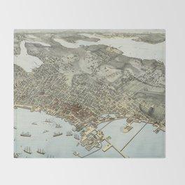 Vintage Pictorial Map of Seattle Washington (1891) Throw Blanket
