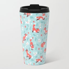 Fox and Bunny Pattern Travel Mug