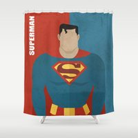 super hero Shower Curtains featuring Super by Loud & Quiet
