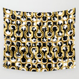 Gold distressed geometric pattern Wall Tapestry