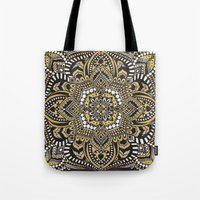 black and gold Tote Bags featuring Black & Gold by Paula Savage
