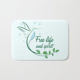 Hummingbird Free Life Quote Bath Mat