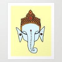 ganesha Art Prints featuring Ganesha by RaJess