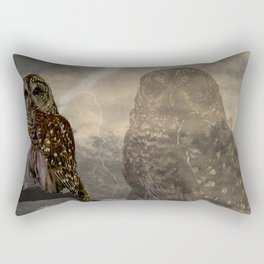 Rustic Barred Owl Bird Double Exposure A661 Rectangular Pillow