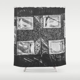 dining table with classic tablecloth in black and white Shower Curtain