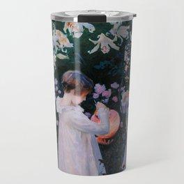 Carnation, Lily, Lily, Rose Travel Mug