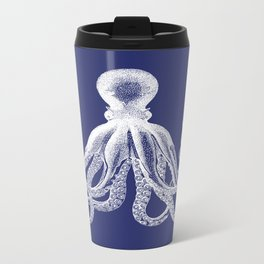 Octopus | Navy Blue and White Metal Travel Mug