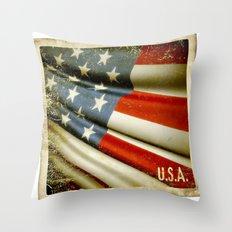 Grunge sticker of United States flag Throw Pillow