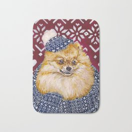 Pomeranian in a Hat and Scarf Bath Mat
