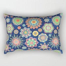Folky Flora-blue Rectangular Pillow