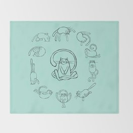 Yoga cats 2 Throw Blanket