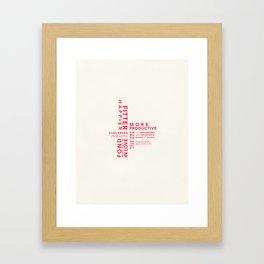 Fitter Happier (red type) Framed Art Print