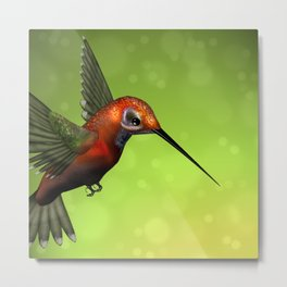 Colorful Hummingbird & Green Unfocused Background Metal Print