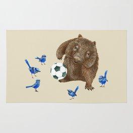 Blue wrens Wombat Football Rug