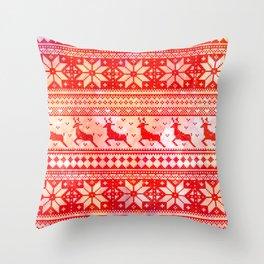 Reindeer Sweater Color Option Throw Pillow