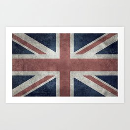 UK Flag, Grungy Desaturated 3:5 scale Art Print