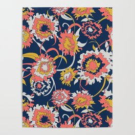 Bold Chinoiserie Floral - Limited Color Palette 2019 Poster