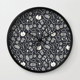 Cats LOVE Yarn! in Grey Wall Clock