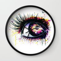"pixies Wall Clocks featuring ""Follow me into wonderland"" by PeeGeeArts"