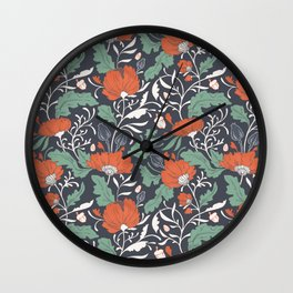 Autumn Poppy Floral Wall Clock