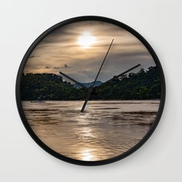 Sunset over the Mekong River. Wall Clock